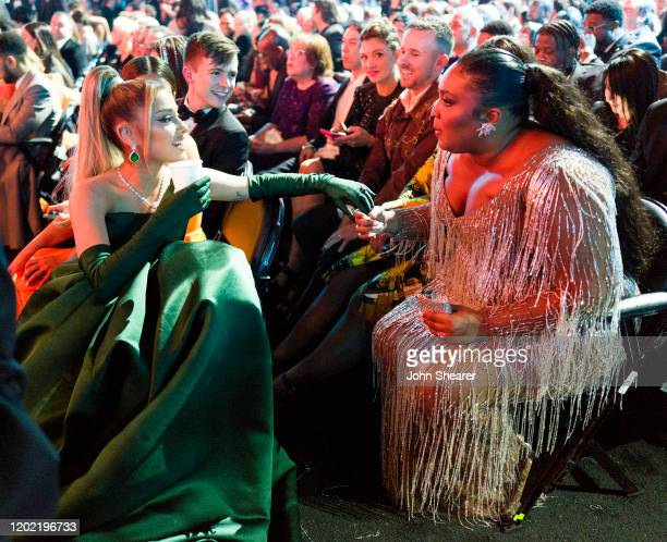 Ariana Grande and Lizzo attend the 62nd Annual GRAMMY Awards on January 26 2020 in Los Angeles California