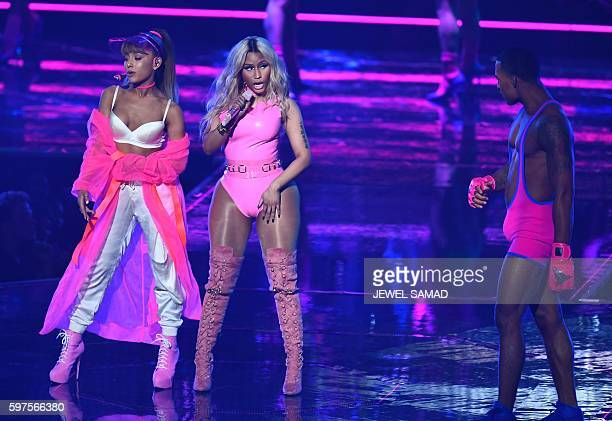 Ariana Grande and Nicki Minaj perform on stage during the 2016 MTV Video Music Awards on August 28 2016 at Madison Square Garden in New York / AFP /...