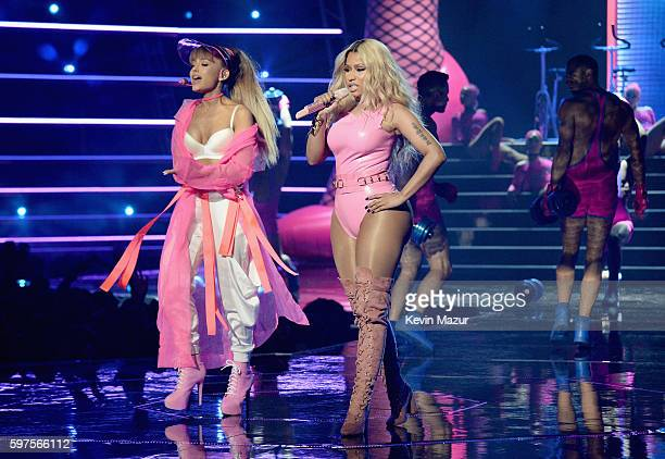 Ariana Grande and Nicki Minaj perform onstage during the 2016 MTV Video Music Awards at Madison Square Garden on August 28 2016 in New York City