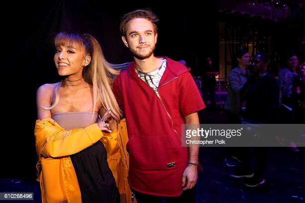 Ariana Grande and Zedd pose backstage during the 2016 iHeartRadio Music Festival at TMobile Arena on September 24 2016 in Las Vegas Nevada