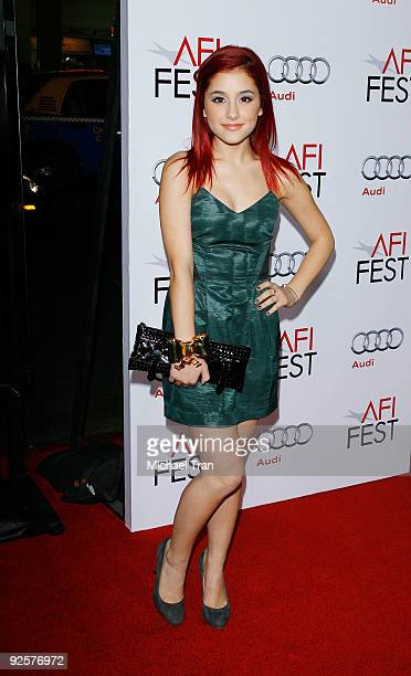 Ariana Grande arrives to the 2009 AFI Festival opening night featuring 'Fantastic Mr Fox' held at Grauman's Chinese Theatre on October 30 2009 in...