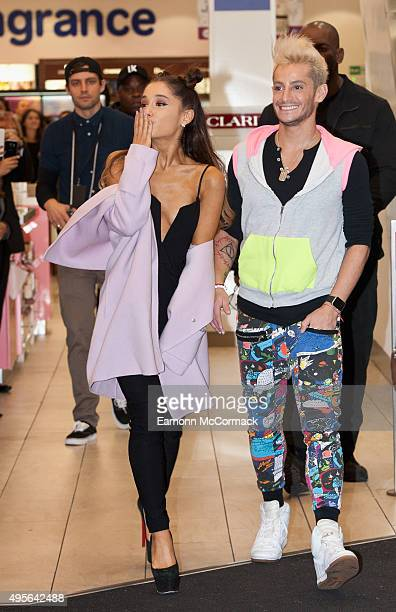 Ariana Grande arrives with Frankie Grande at Boots Piccadilly for a MeetAndGreet with fans to launch her debut Fragrance Ari by Ariane Grande on...