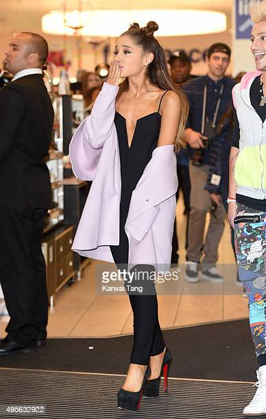 Ariana Grande attends a photocall to support the launch of her debut fragrance Ari by Ariana Grande and also meet and greet her fans at Boots...