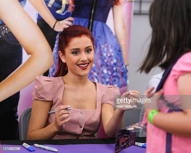 Ariana Grande attends Nickelodeon's Victorious soundtrack CD signing at WalMart on August 13 2011 in Duarte California