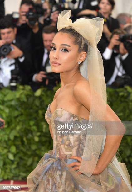 Ariana Grande attends the Heavenly Bodies: Fashion & The Catholic Imagination Costume Institute Gala at The Metropolitan Museum of Art on May 7, 2018...
