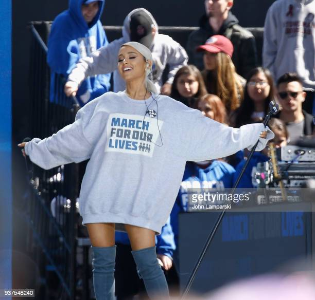 Ariana Grande during March For Our Lives on March 24 2018 in Washington DC