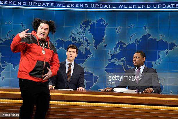 LIVE 'Ariana Grande' Episode 1698 Pictured Bobby Moynihan as Riblet Colin Jost and Michael Che during the Weekend Update on March 12 2016