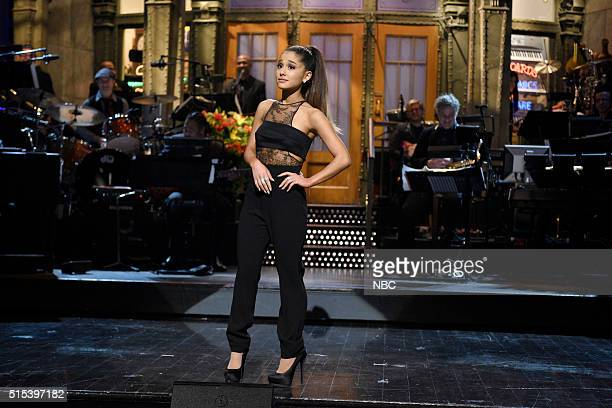 """Ariana Grande"""" Episode 1698 -- Pictured: Host Ariana Grande during the monologue on March 12, 2016 --"""