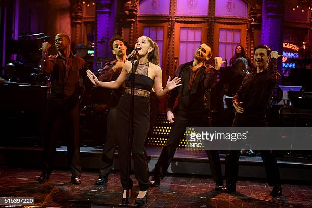 LIVE 'Ariana Grande' Episode 1698 Pictured Host Ariana Grande during the monologue on March 12 2016