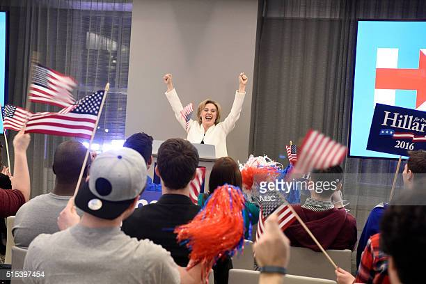 LIVE Ariana Grande Episode 1698 Pictured Kate McKinnon as Hillary Clinton during the Hillary Campaign Ad sketch on March 12 2016