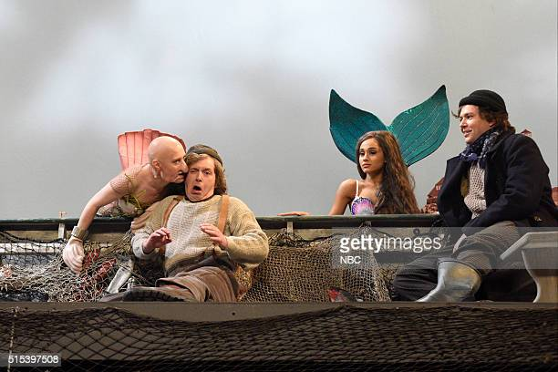 LIVE 'Ariana Grande' Episode 1698 Pictured Kate McKinnon Beck Bennett Ariana Grande and Taran Killam during the 'Mermaids' sketch on March 12 2016
