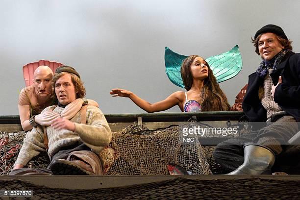 LIVE Ariana Grande Episode 1698 Pictured Kate McKinnon Beck Bennett Ariana Grande and Taran Killam during the Mermaids sketch on March 12 2016