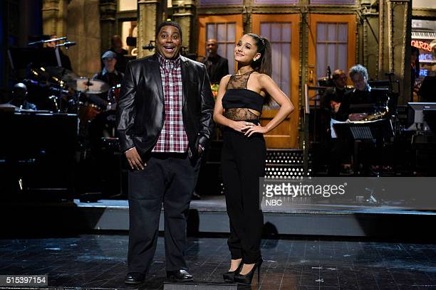 LIVE 'Ariana Grande' Episode 1698 Pictured Kenan Thompson and host Ariana Grande during the monologue on March 12 2016