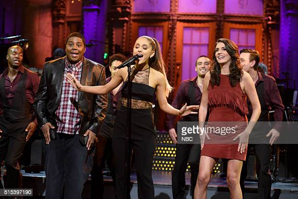 LIVE 'Ariana Grande' Episode 1698 Pictured Kenan Thompson host Ariana Grande and Cecily Strong during the monologue on March 12 2016