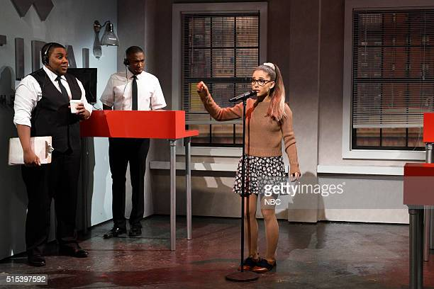 LIVE 'Ariana Grande' Episode 1698 Pictured Kenan Thompson Jay Pharoah and Ariana Grande during the 'Tidal' sketch on March 12 2016