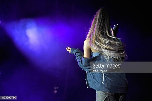 Ariana Grande hair detail performs at A Concert for Charlottesville at University of Virginia's Scott Stadium on September 24 2017 in Charlottesville...