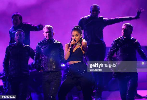 Ariana Grande is seen on stage during the 2016 Billboard Music Awards held at the TMobile Arena on May 22 2016 in Las Vegas Nevada