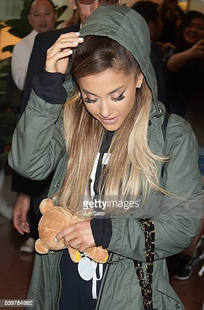 Ariana Grande is seen upon arrival at Haneda Airport on June 13 2016 in Tokyo Japan