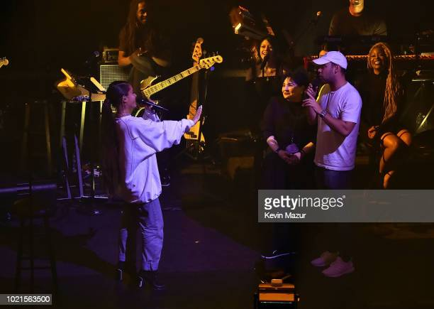 Ariana Grande Joan Grande and Scooter Braun at the American Express And Ariana Grande Present 'The Sweetener Sessions' At Chicago's The Vic at The...