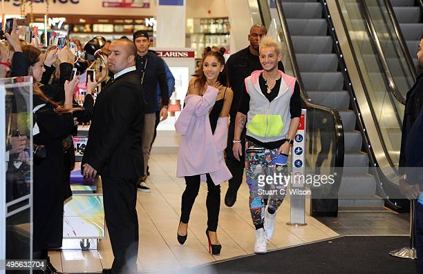 Ariana Grande meets fans with Frankie Grande to launch her debut fragrance Ari by Ariana Grande at Boots in London Piccadilly on November 4 2015 in...