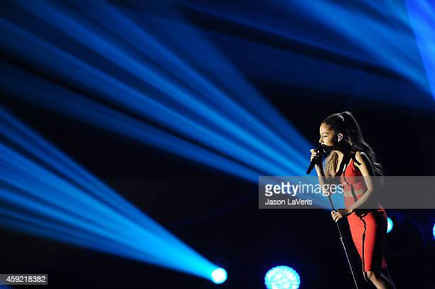 Ariana Grande performs at A Very GRAMMY Christmas at The Shrine Auditorium on November 18 2014 in Los Angeles California