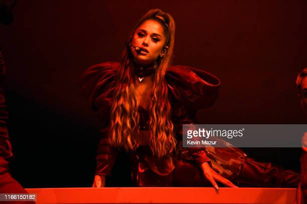 Ariana Grande performs at Lollapalooza at Grant Park on August 04, 2019 in Chicago, Illinois.
