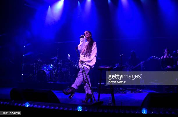 Ariana Grande performs at the American Express And Ariana Grande Present 'The Sweetener Sessions' At Chicago's The Vic at The Vic Theater on August...