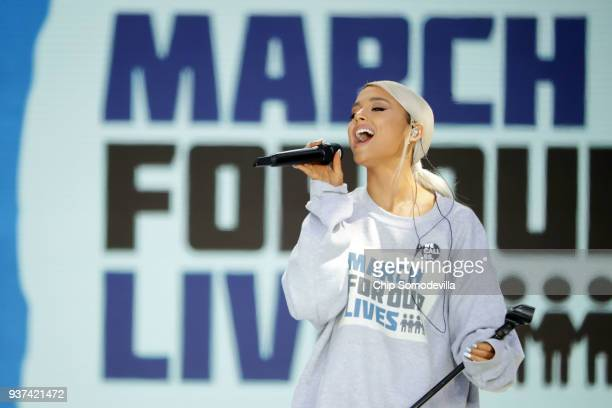 Ariana Grande performs 'Be Alright' during the March for Our Lives rally on March 24 2018 in Washington DC Hundreds of thousands of demonstrators...