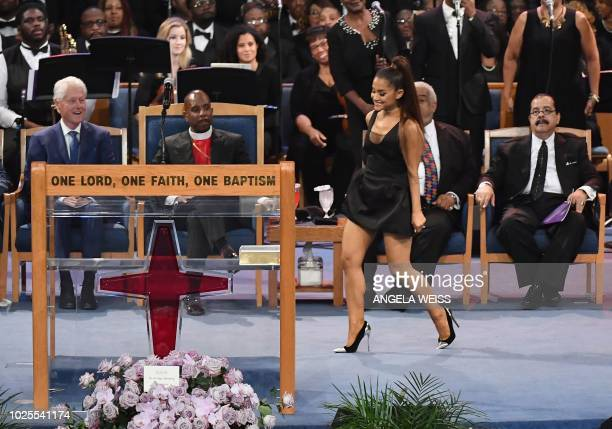 Ariana Grande performs during Aretha Franklin's funeral at Greater Grace Temple on August 31 2018 in Detroit Michigan