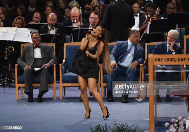 TOPSHOT Ariana Grande performs during Aretha Franklin's funeral at Greater Grace Temple on August 31 2018 in Detroit Michigan