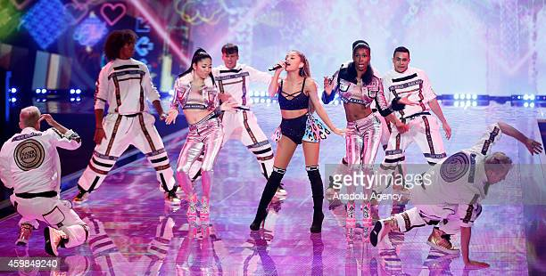 Ariana Grande performs during the 2014 Victoria's Secret Fashion Show at Earl's Court exhibition centre in London on December 2 2014