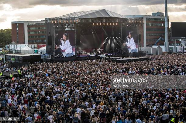 Ariana Grande performs during the 'One Love Manchester' benefit concert on June 4 2017 in Manchester England