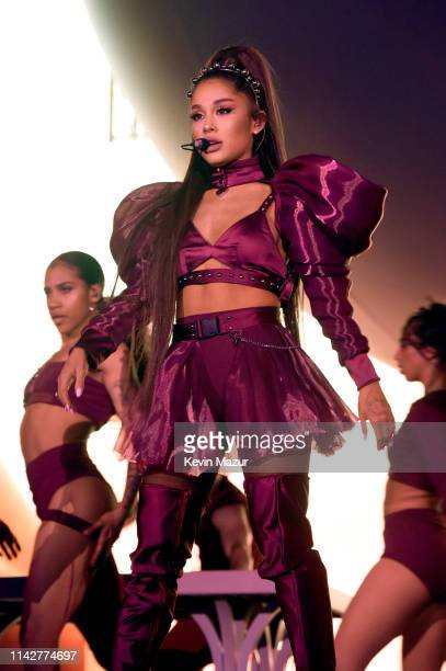 Ariana Grande performs on Coachella Stage during the 2019 Coachella Valley Music And Arts Festival on April 14, 2019 in Indio, California.