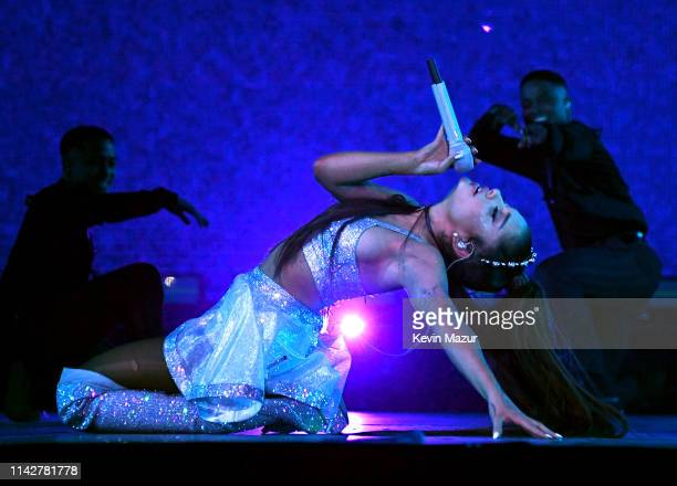 Ariana Grande performs on Coachella Stage during the 2019 Coachella Valley Music And Arts Festival on April 14 2019 in Indio California