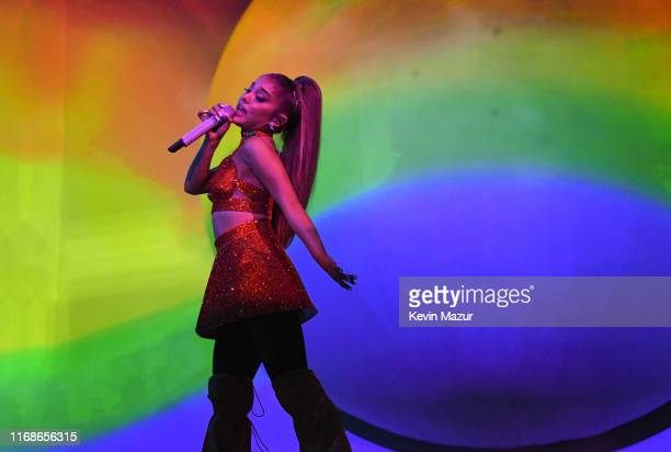 Ariana Grande performs on stage during her Sweetener World Tour at The O2 Arena on August 17 2019 in London England