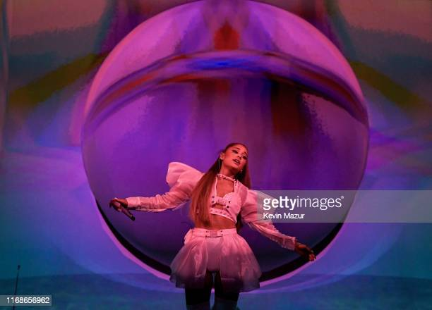 "Ariana Grande performs on stage during her ""Sweetener World Tour"" at The O2 Arena on August 17, 2019 in London, England."