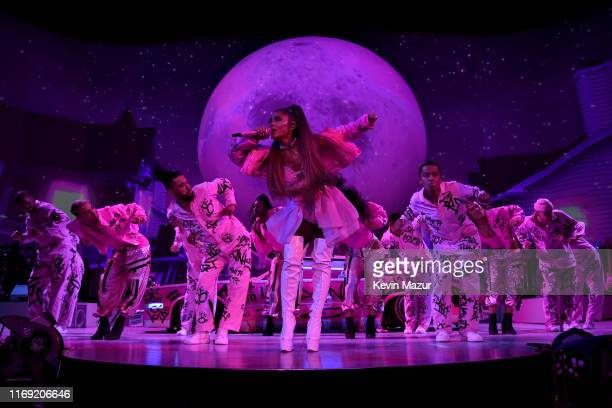 "Ariana Grande performs on stage during her ""Sweetener World Tour"" at The O2 Arena on August 19, 2019 in London, England."