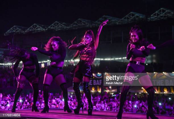 Ariana Grande performs on stage during Manchester Pride Live 2019 at the Mayfield Depot on August 25 2019 in Manchester England