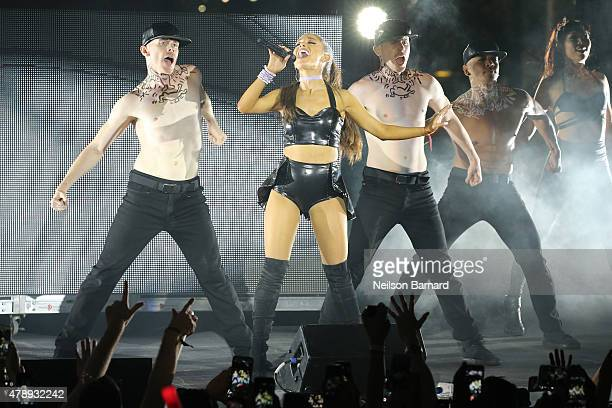 Ariana Grande performs on stage during the 29th annual NYC Pride Dance On The Pier at Pier 26 on June 28 2015 in New York City