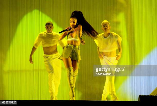Ariana Grande performs on stage during the Dangerous Woman Tour Opener at Talking Stick Resort Arena on February 3 2017 in Phoenix Arizona