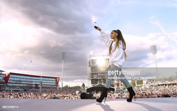 Ariana Grande performs on stage during the One Love Manchester Benefit Concert at Old Trafford Cricket Ground on June 4, 2017 in Manchester, England.