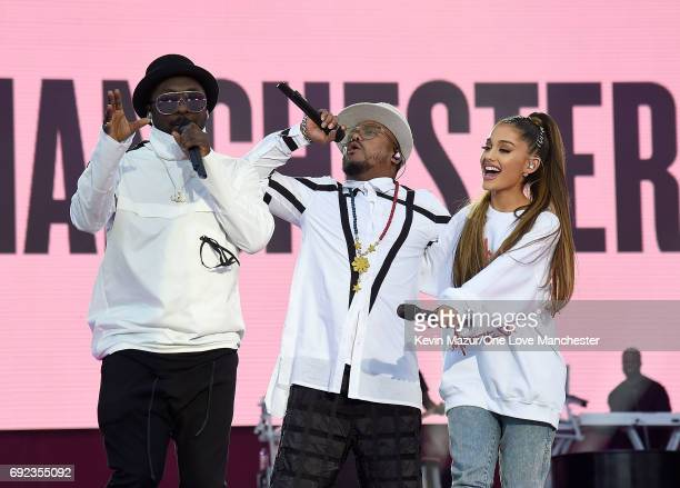 Ariana Grande performs on stage with apldeap and william of The Black Eyed Peas during the One Love Manchester Benefit Concert at Old Trafford...