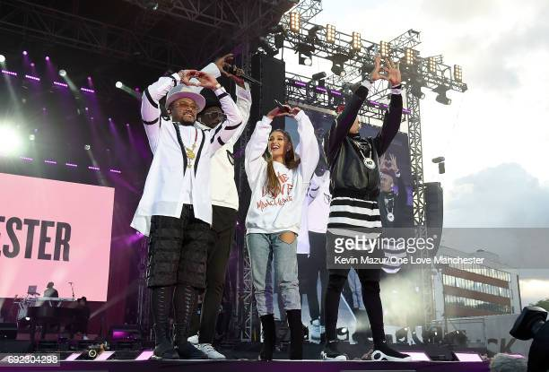Ariana Grande performs on stage with apldeap william and Taboo of The Black Eyed Peas during the One Love Manchester Benefit Concert at Old Trafford...