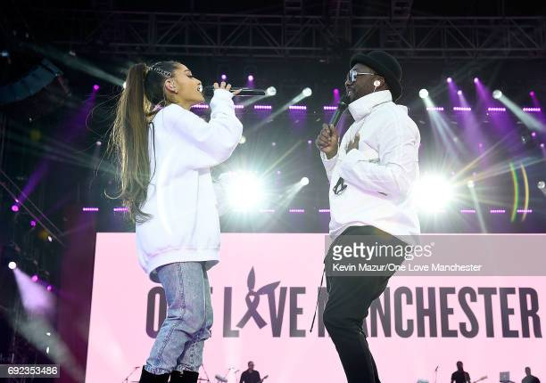 Ariana Grande performs on stage with william during the One Love Manchester Benefit Concert at Old Trafford Cricket Ground on June 4 2017 in...