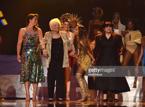 Ariana Grande performs onstage and brings family onstage during the 2018 MTV Video Music Awards at Radio City Music Hall on August 20 2018 in New...