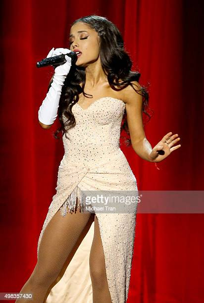 Ariana Grande performs onstage at the 2015 American Music Awards at Microsoft Theater on November 22 2015 in Los Angeles California