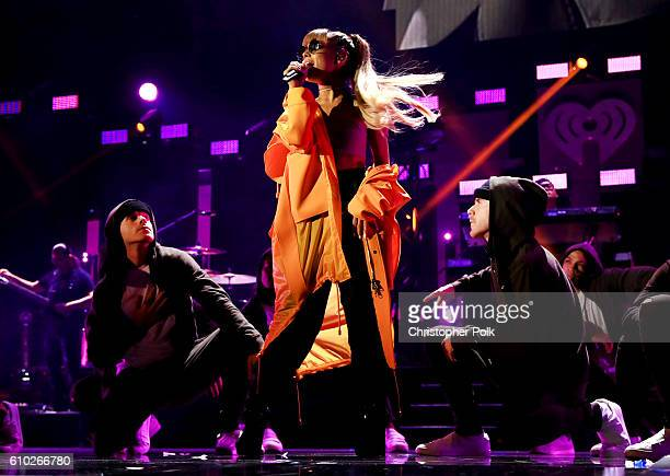 Ariana Grande performs onstage at the 2016 iHeartRadio Music Festival at TMobile Arena on September 24 2016 in Las Vegas Nevada