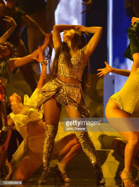 Ariana Grande performs onstage during 2018 MTV Video Music Awards at Radio City Music Hall on August 20 2018 in New York City
