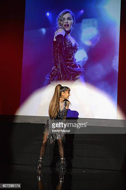 Ariana Grande performs onstage during An Evening of Music, Art, Mischief and Performance to benefit Raising Malawi presented by Madonna at Faena...