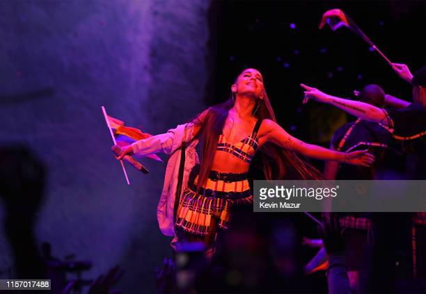 Ariana Grande performs onstage during her Sweetener World Tour at Madison Square Garden on June 18 2019 in New York City